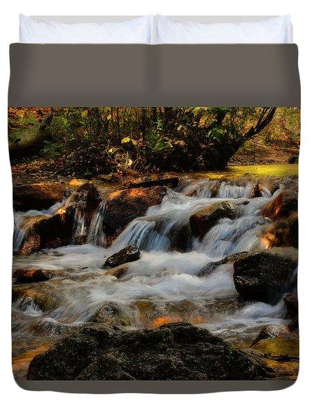 Duvet Cover featuring the photograph Cheyenne Canyon Autumn by Ellen Heaverlo