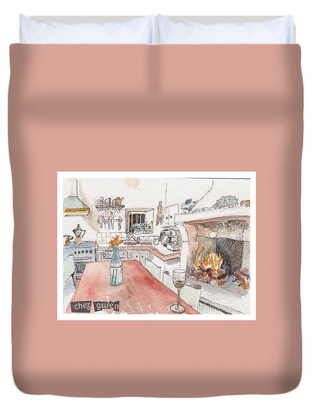 Duvet Cover featuring the painting Chez Gwen by Tilly Strauss