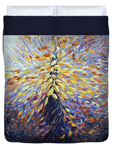 Duvet Cover featuring the painting Chi Of The Mighty Tree by Joanne Smoley