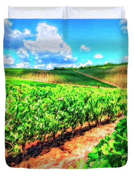 Chianti Vineyard In Tuscany Duvet Cover by Dominic Piperata
