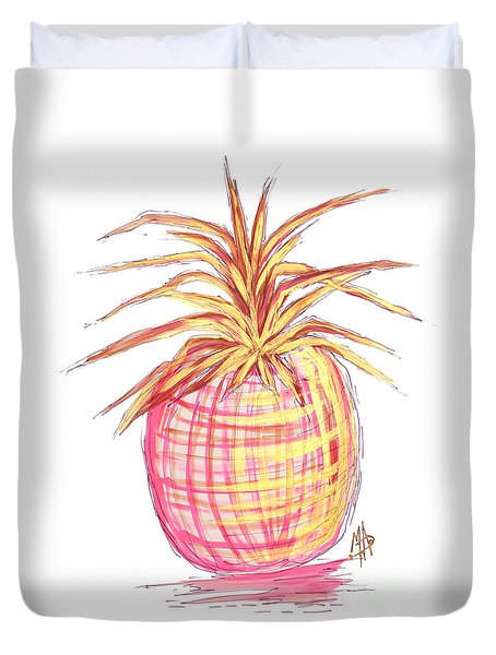 Chic Pink Metallic Gold Pineapple Fruit Wall Art Aroon Melane 2015 Collection By Madart Duvet Cover by Megan Duncanson