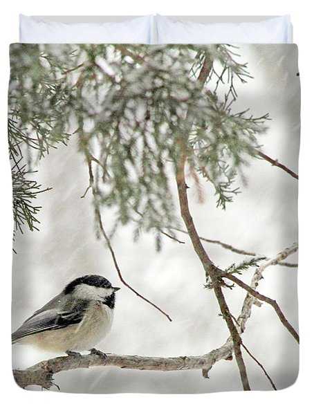 Chicadee In A Snow Storm  Duvet Cover