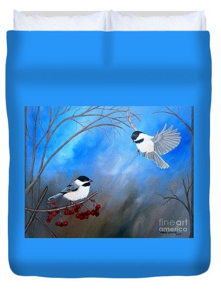 Chickadees  Duvet Cover