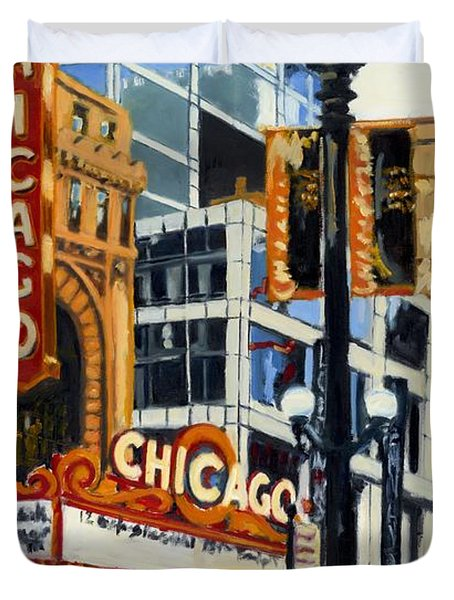 Chicago - The Chicago Theater Duvet Cover