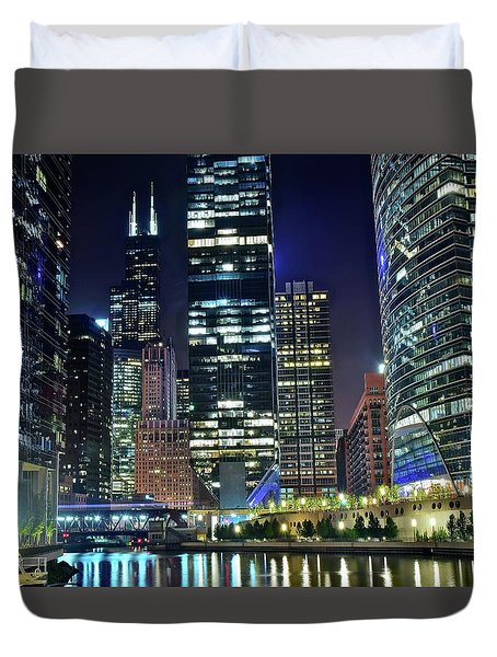 Chicago 2017 Full Moon Duvet Cover