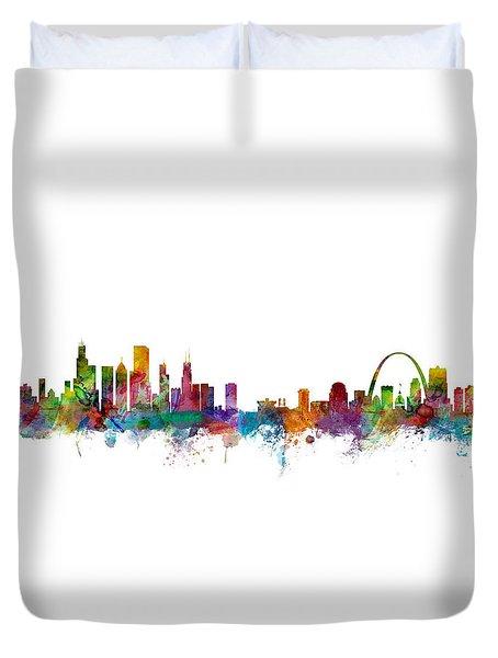 Chicago And St Louis Skyline Mashup Duvet Cover