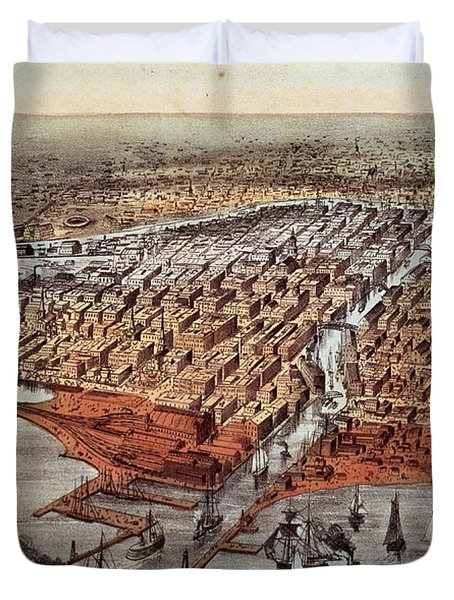 Chicago As It Was Duvet Cover by Currier and Ives