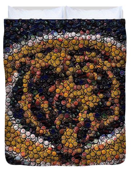 Chicago Bears Bottle Cap Mosaic Duvet Cover by Paul Van Scott