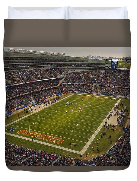Chicago Bears Soldier Field 7795 Duvet Cover by David Haskett