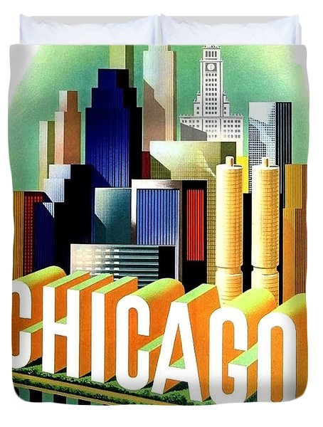Chicago, Big City, Skyscrapers, Travel Poster Duvet Cover