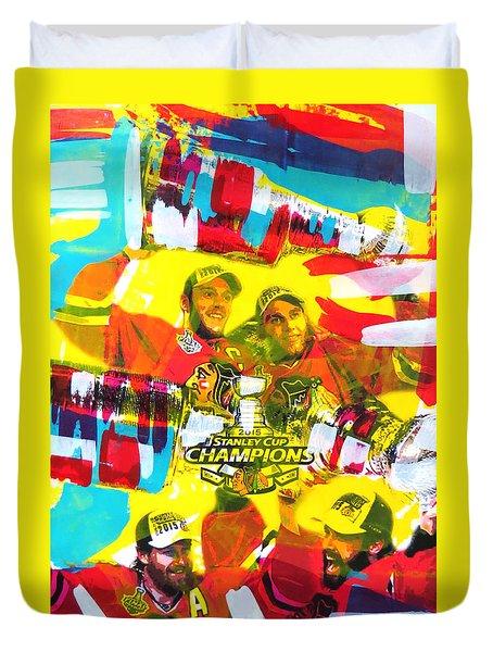 Chicago Blackhawks 2015 Champions Duvet Cover by Elliott From