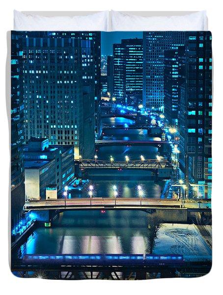 Chicago Bridges Poster Duvet Cover by Steve Gadomski