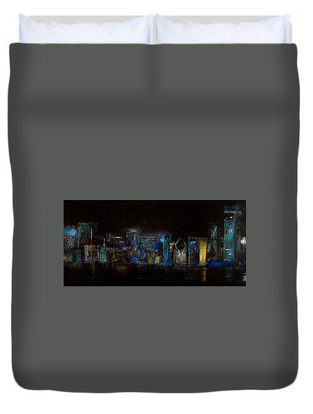 Chicago City Scene Duvet Cover