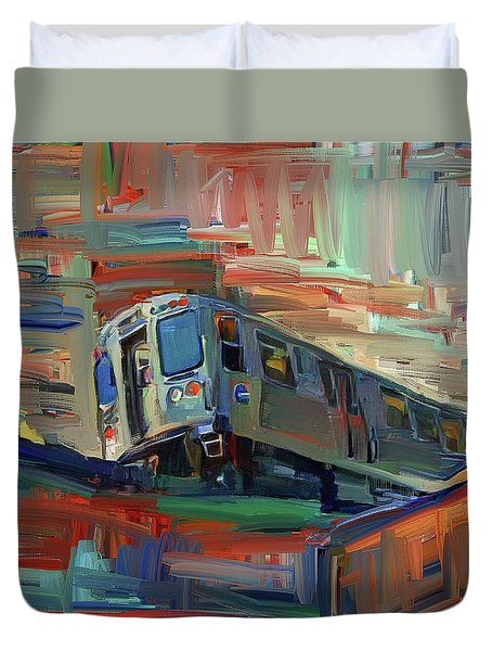 Chicago City Train Duvet Cover