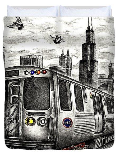 Chicago Cta Train Duvet Cover