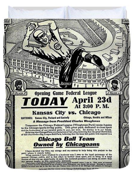 Chicago Cub Poster Duvet Cover