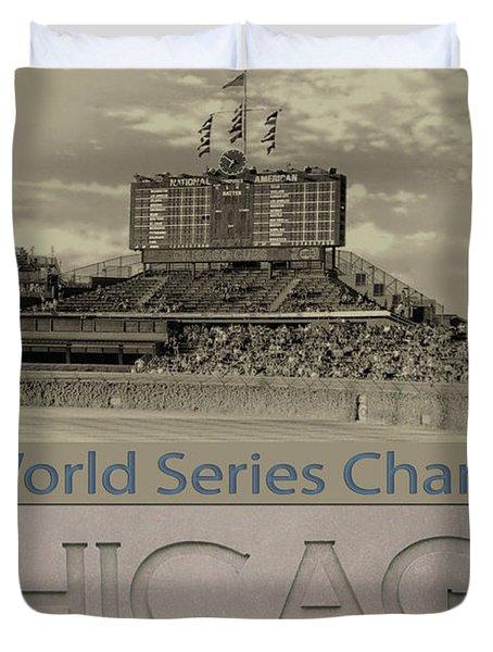 Chicago Cubs 2016 World Series Scoreboard Duvet Cover