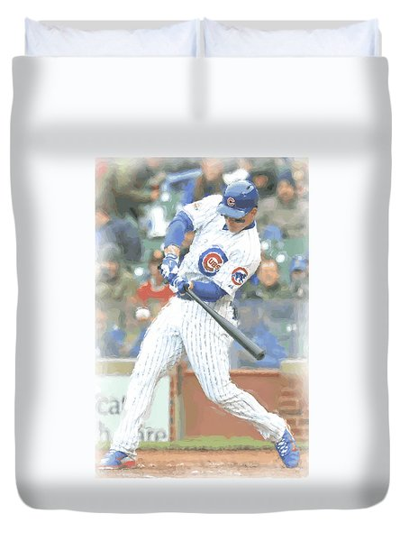 Chicago Cubs Anthony Rizzo Duvet Cover