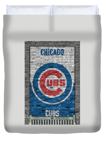 Chicago Cubs Brick Wall Duvet Cover by Joe Hamilton