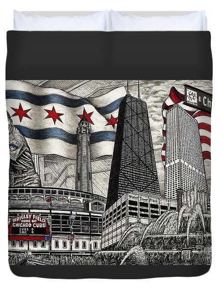 Chicago Cubs, Ernie Banks, Wrigley Field Duvet Cover