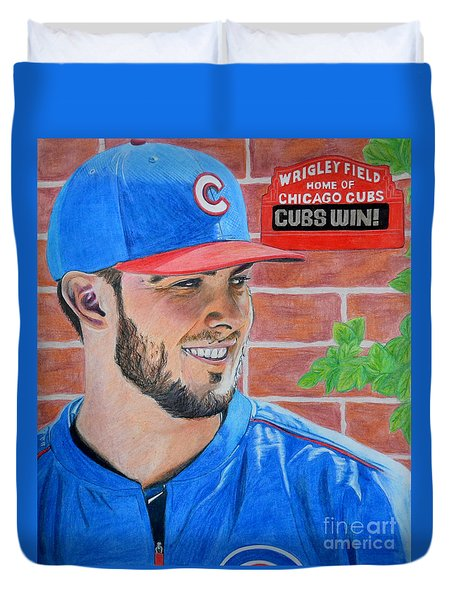 Chicago Cubs Kris Bryant Portrait Duvet Cover