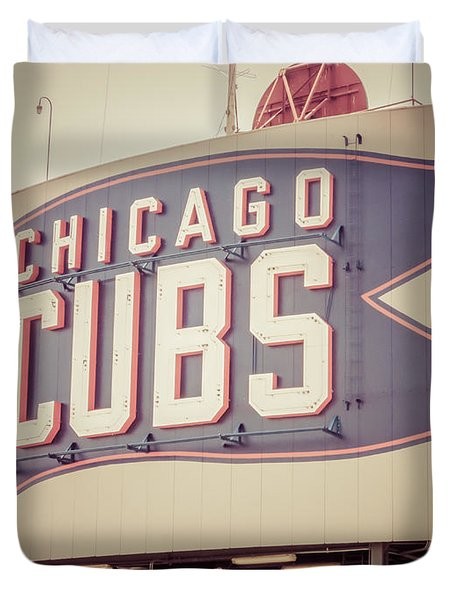 Chicago Cubs Sign Vintage Picture Duvet Cover by Paul Velgos