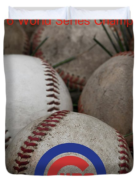 Chicago Cubs World Series Poster Duvet Cover
