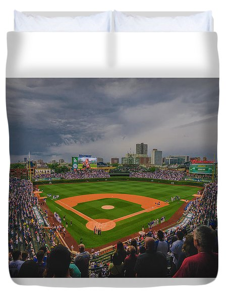 Chicago Cubs Wrigley Field 4 8213 Duvet Cover by David Haskett