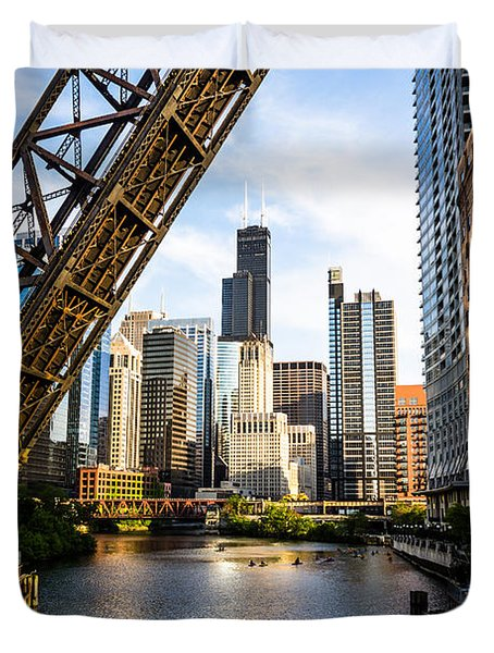 Chicago Downtown And Kinzie Street Railroad Bridge Duvet Cover