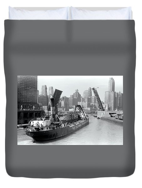 Duvet Cover featuring the photograph Chicago Draw Bridge 1941 by Daniel Hagerman