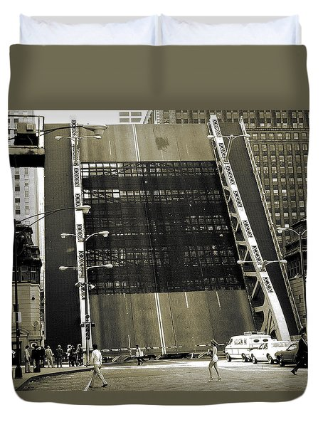 Old Chicago Draw Bridge - Vintage Photo Art Print Duvet Cover