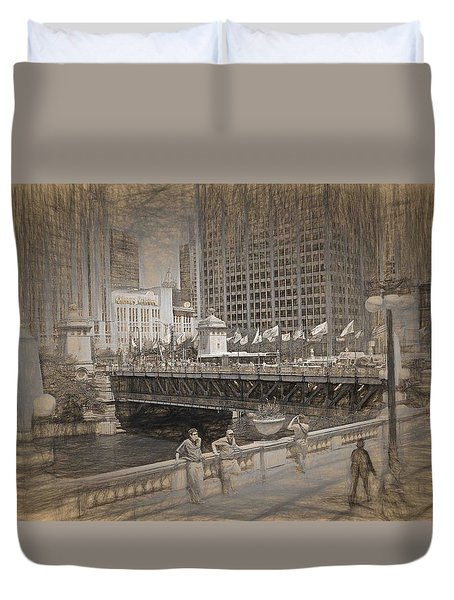 Chicago Dusable Bridge Street Scene Duvet Cover
