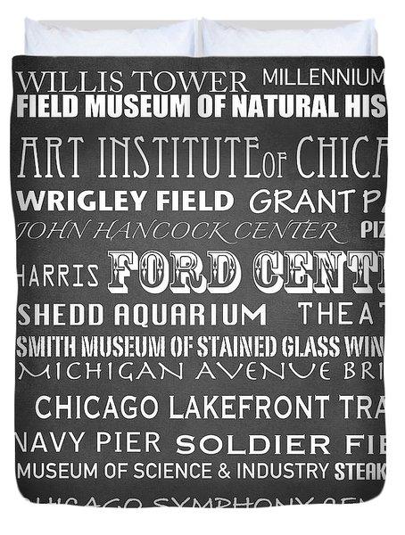 Chicago Famous Landmarks Duvet Cover