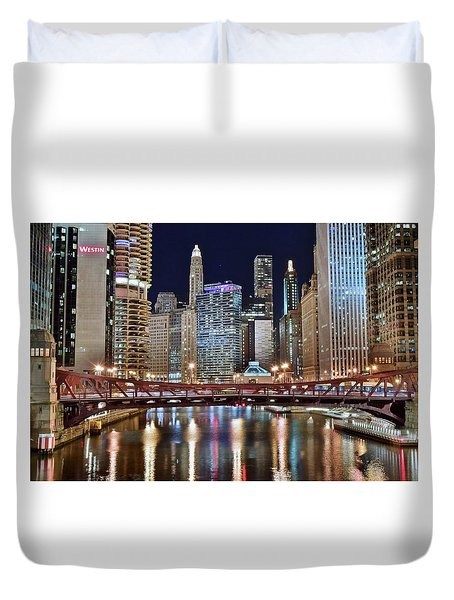 Chicago Full City View Duvet Cover by Frozen in Time Fine Art Photography