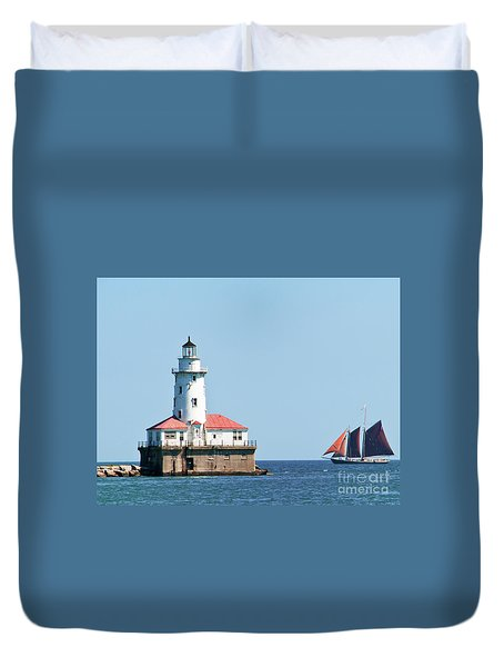Chicago Harbor Lighthouse And A Tall Ship Duvet Cover
