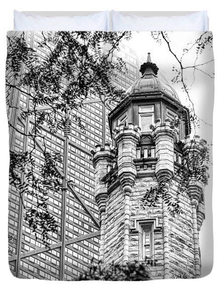 Duvet Cover featuring the photograph Chicago Historic Water Tower Fog Black And White by Christopher Arndt