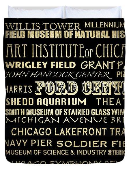Chicago Illinois Famous Landmarks Duvet Cover