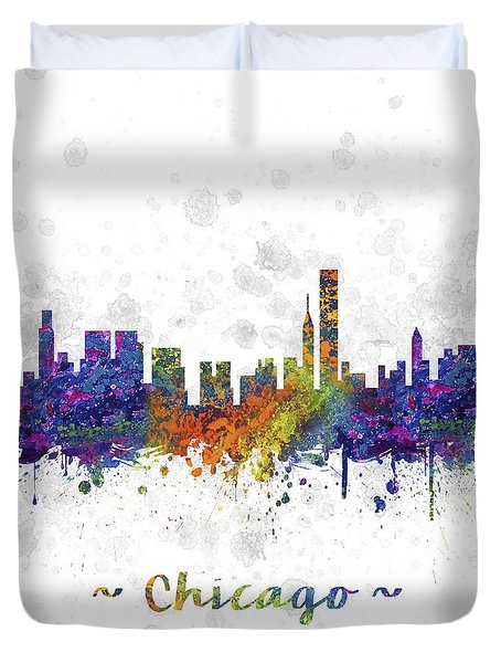 Chicago Illinois Skyline Color 03sq Duvet Cover by Aged Pixel