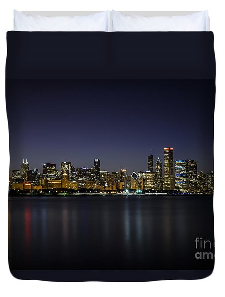 Duvet Cover featuring the photograph Chicago In Blue by Andrea Silies