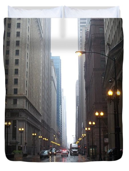 Chicago In The Rain 2 Duvet Cover