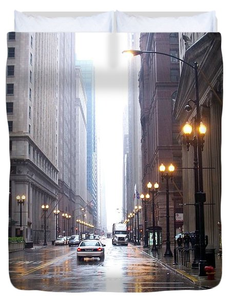 Chicago In The Rain Duvet Cover