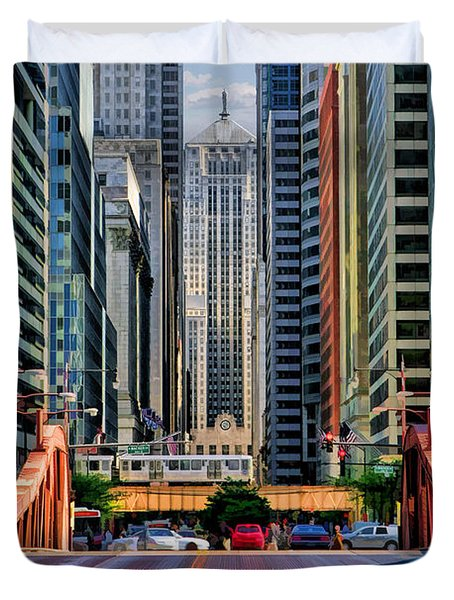 Duvet Cover featuring the painting Chicago Lasalle Street by Christopher Arndt