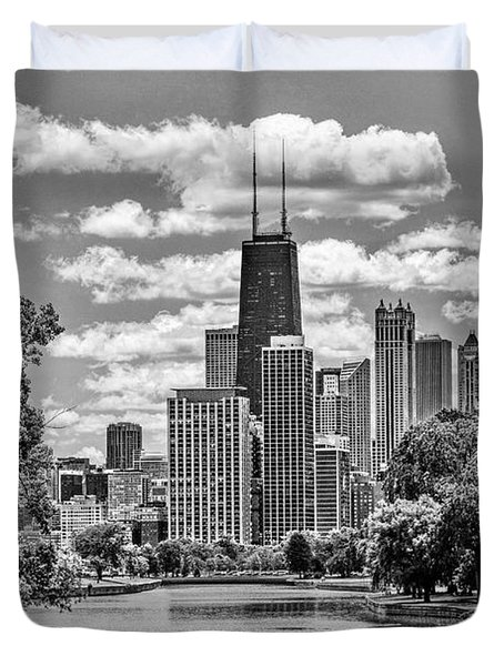 Duvet Cover featuring the painting Chicago Lincoln Park Lagoon Black And White by Christopher Arndt