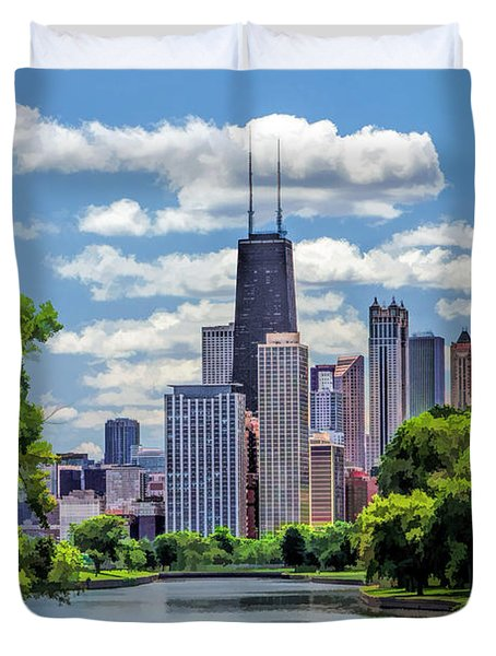 Duvet Cover featuring the painting Chicago Lincoln Park Lagoon by Christopher Arndt
