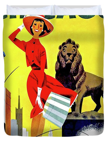 Chicago, Lion, Shopping Woman Duvet Cover