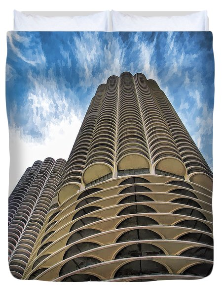 Duvet Cover featuring the painting Chicago Marina Towers by Christopher Arndt