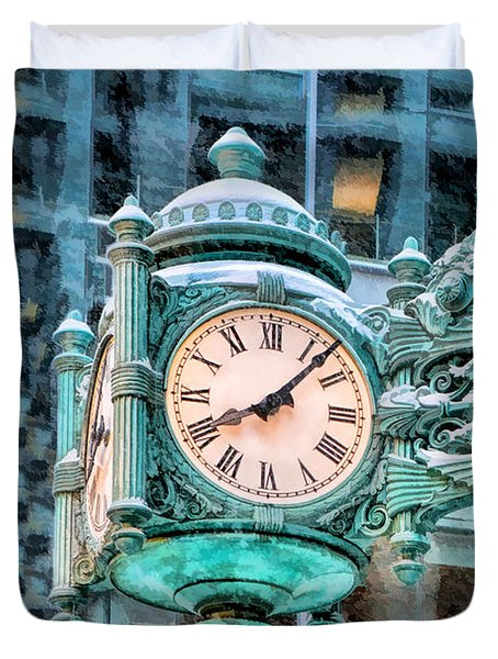 Duvet Cover featuring the painting Chicago Marshall Field State Street Clock by Christopher Arndt