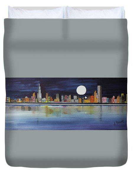 Chicago Moon Duvet Cover