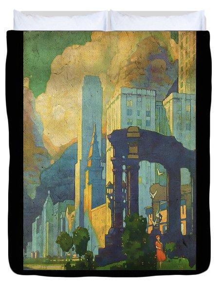 Chicago - New York Central Lines - Vintage Poster Vintagelized Duvet Cover