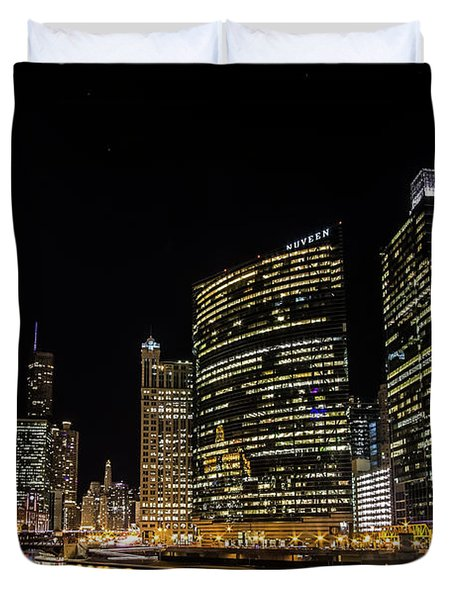 Chicago Night Skyline From Wolf Point Duvet Cover